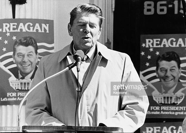Former Governor of California Ronald Reagan making a speech during the Republican presidential primary in New York March 1980 Reagan won the New York...