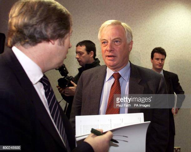 Former Governor of Hong Kong Chris Patten talks to reporters before a press conference at the Interpoint building in Belfast where he will unveil his...