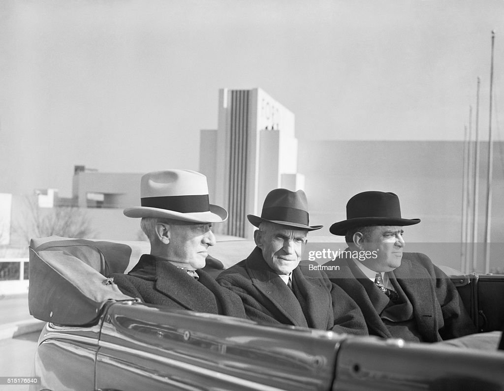 Former Governor of New York Al Smith (L), Henry Ford (C) and New York City Mayor Fiorello LaGuardia (R) drive over the Road of Tomorrow, one of the features of the Ford Exhibit at the New York World's Fair.