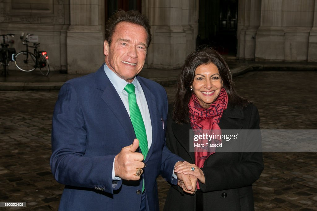 Paris Major Anne Hidalgo Receives Arnold Schwarzenegger At Hotel De Ville In Paris