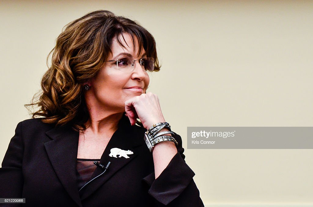Former Governor <a gi-track='captionPersonalityLinkClicked' href=/galleries/search?phrase=Sarah+Palin&family=editorial&specificpeople=4170348 ng-click='$event.stopPropagation()'>Sarah Palin</a> speaks during the 'Climate Hustle' panel discussion at the Rayburn House Office Building on April 14, 2016 in Washington, DC.