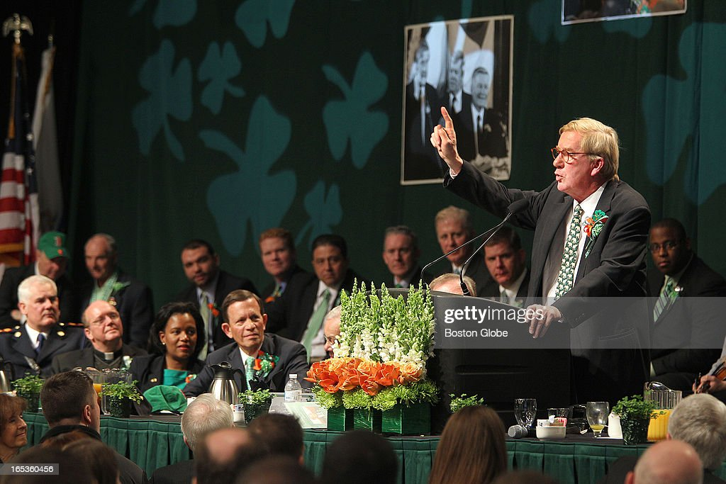 Former Governor William Weld. Hosted by Boston City Councilor Bill Linehan, the annual South Boston St. Patrick's Day Breakfast is held at the Boston Convention and Exhibition Center, on Sunday, March 17, 2013.