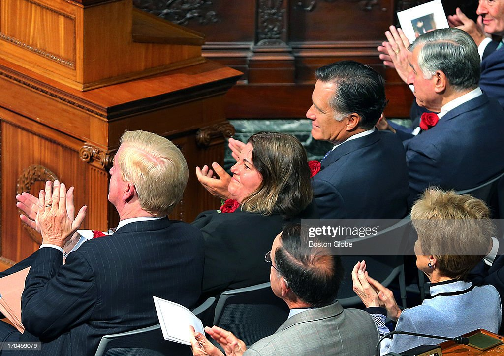 William Weld, Jane Swift, Mitt Romney and Michael Dukakis during the service. Friends, family, and local politicians attended a memorial service for former Governor Paul Cellucci at the Massachusetts State House, June 13, 2013.