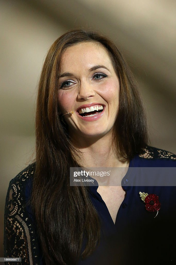 Former Great Britain track cyclist <a gi-track='captionPersonalityLinkClicked' href=/galleries/search?phrase=Victoria+Pendleton&family=editorial&specificpeople=228525 ng-click='$event.stopPropagation()'>Victoria Pendleton</a> CBE commentates for the media on day three of the UCI Track Cycling World Cup at Manchester Velodrome on November 3, 2013 in Manchester, England.
