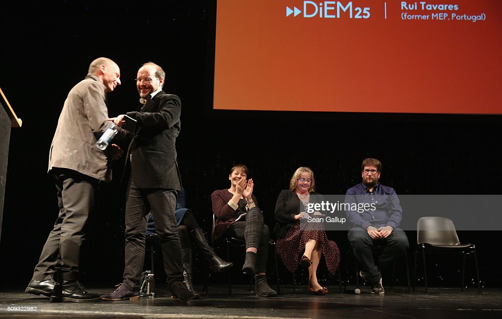 Former Greek Finance Minister <a gi-track='captionPersonalityLinkClicked' href=/galleries/search?phrase=Yanis+Varoufakis&family=editorial&specificpeople=13872964 ng-click='$event.stopPropagation()'>Yanis Varoufakis</a> (L) embraces Rui Tavares of Portugal after Tavares spoke at the official launch of the Democracy in Europe Movement 2025 (DiEM25) as (from L to R) left-leaning European politicians Katja Kipping of Germany, <a gi-track='captionPersonalityLinkClicked' href=/galleries/search?phrase=Caroline+Lucas&family=editorial&specificpeople=2121309 ng-click='$event.stopPropagation()'>Caroline Lucas</a> of the United Kingdom, Nessa Childers of Ireland and Miguel Crespo Urban of Spain look on at the Volksbuehne theater on February 9, 2016 in Berlin, Germany. Veroufakis is co-founding the new political movement together with other left-leaning politicians and thinkers from across Europe. Veroufakis said he sees Europe in danger of disintegration due to a rise in nationalism among some states not unsimilar to the rise of nationalist dictatorships in the 1930s and said he seeks to ceate a new Europe based on grass roots democracy and transparency.