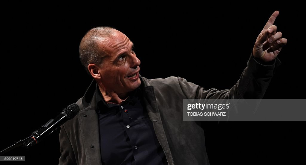 Former Greek Finance Minister Yanis Varoufakis gestures during an event to mark the official launch of the Democracy in Europe Movement (DiEM) in Berlin on February 9, 2016. / AFP / TOBIAS SCHWARZ