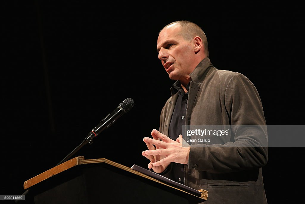 Former Greek Finance Minister <a gi-track='captionPersonalityLinkClicked' href=/galleries/search?phrase=Yanis+Varoufakis&family=editorial&specificpeople=13872964 ng-click='$event.stopPropagation()'>Yanis Varoufakis</a> speaks at the official launch of the Democracy in Europe Movement 2025 (DiEM25) at the Volksbuehne theater on February 9, 2016 in Berlin, Germany. Veroufakis is co-founding the new political movement together with other left-leaning politicians and thinkers from across Europe. Veroufakis said he sees Europe in danger of disintegration due to a rise in nationalism among some states not unsimilar to the rise of nationalist dictatorships in the 1930s and said he seeks to ceate a new Europe based on grass roots democracy and transparency.