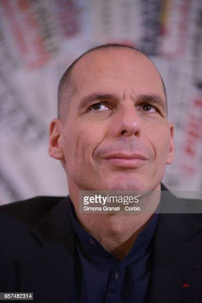 Former Greek Minister of Finance Yanis Varoufakis presents the program to save Europe 'European New Deal' of Diem25 to the foreign presson March 24...