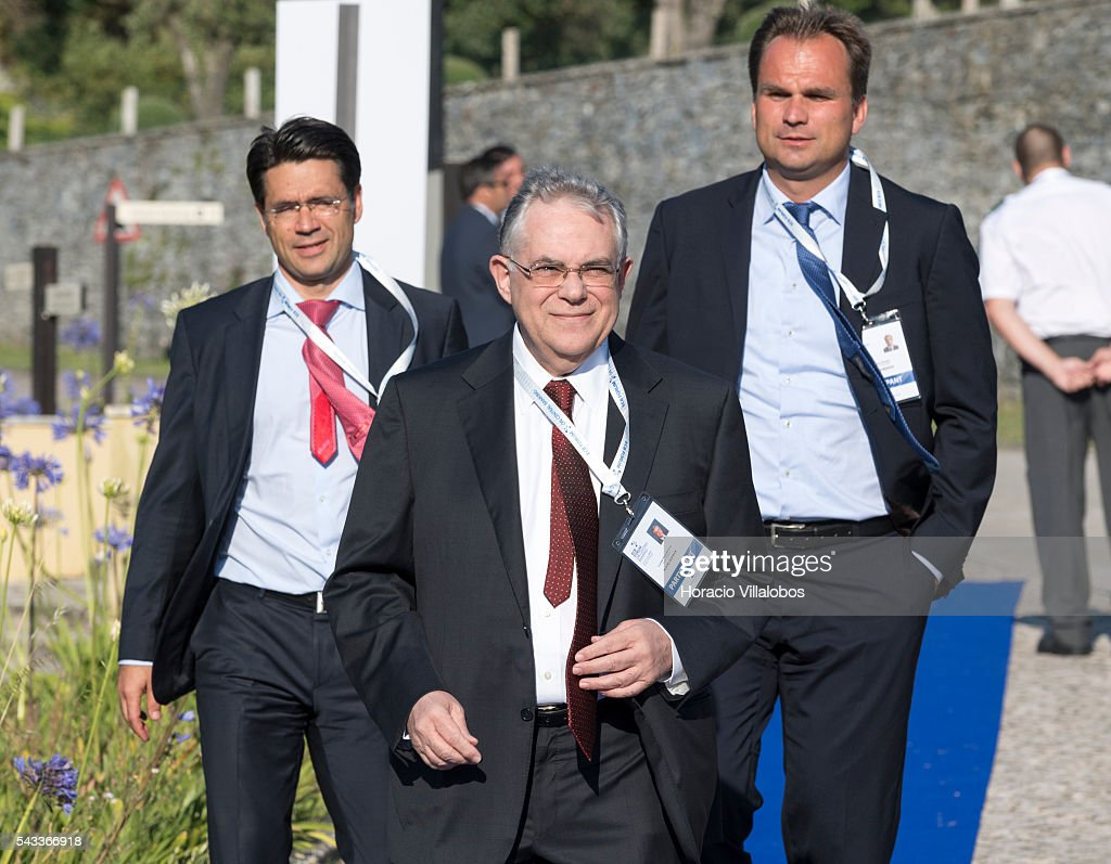 Former Greek PM Lucas Demetrios Papademos arrives to participate in the ECB Forum on Central Banking on June 27, 2016 in Sintra, Portugal. The third annual European Central Bank Forum on Central Banking focuses on 'The future of the international monetary and financial architecture', a key topic of debate among economists and policymakers. Some 150 central bank governors, academics, financial journalists and high-level financial market representatives will discuss current policy issues and the chosen topic from a longer-term perspective.