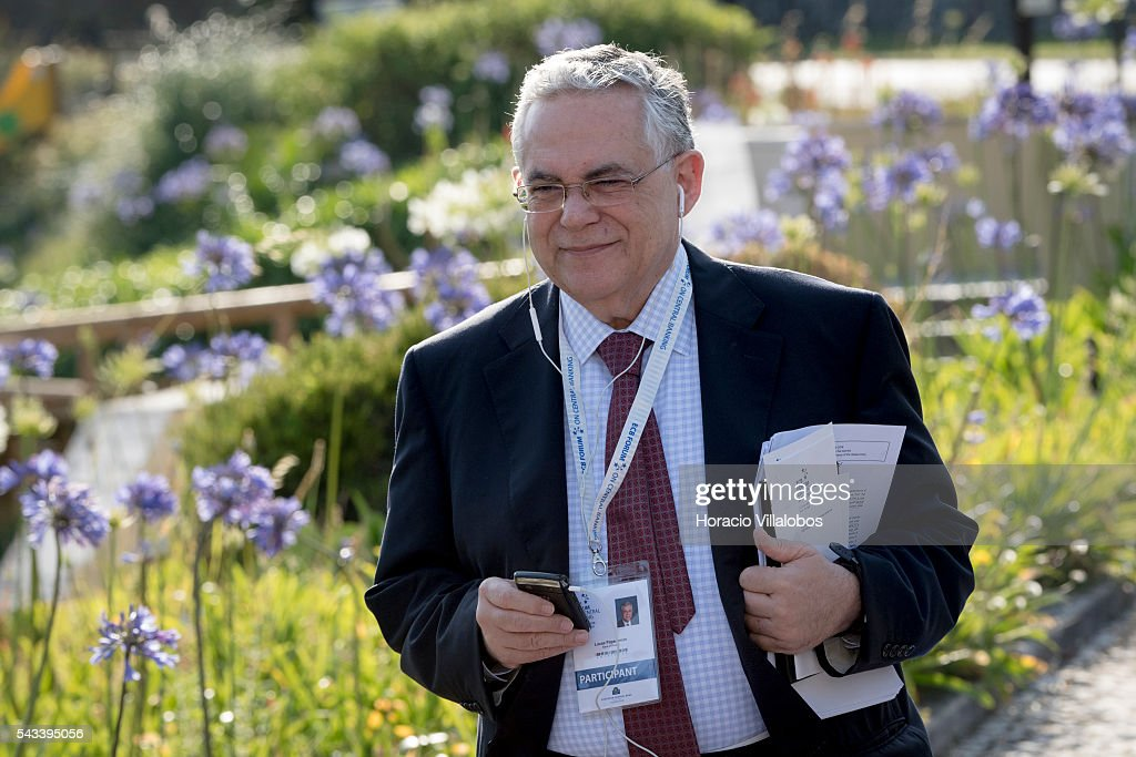 Former Greek PM Lucas Demetrios Papademos arrives to participate in the ECB Forum on Central Banking on June 28, 2016 in Sintra, Portugal. The third annual European Central Bank Forum on Central Banking focuses on 'The future of the international monetary and financial architecture', a key topic of debate among economists and policymakers. Some 150 central bank governors, academics, financial journalists and high-level financial market representatives will discuss current policy issues and the chosen topic from a longer-term perspective.