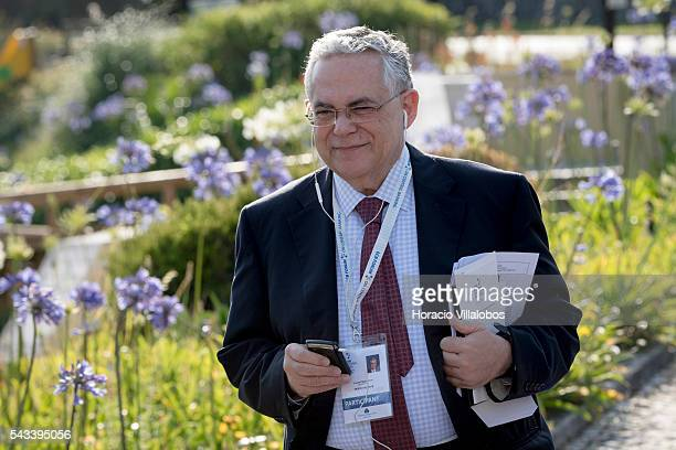 Former Greek PM Lucas Demetrios Papademos arrives to participate in the ECB Forum on Central Banking on June 28 2016 in Sintra Portugal The third...