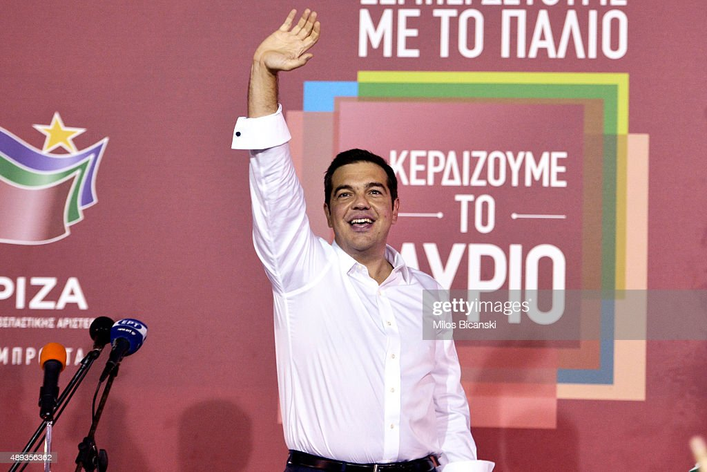 Former Greek prime minister and leader of leftist Syriza party <a gi-track='captionPersonalityLinkClicked' href=/galleries/search?phrase=Alexis+Tsipras&family=editorial&specificpeople=6592450 ng-click='$event.stopPropagation()'>Alexis Tsipras</a> address supporters after winning the general election on September 20, 2015 in Athens, Greece. In Greece's fifth general election in six years, the latest polls give the incumbent Syriza party 35% of the vote compared with New Democracy's 28%. The conservative New Democracy party earlier conceded defeat, leaving Syriza to form a coalition government with the Independent Greeks party.