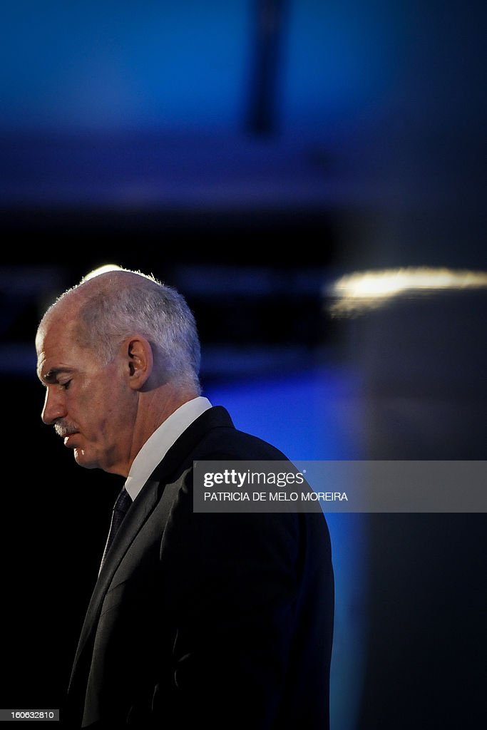 Former Greek Prime Minister and President of the Socialist International (SI) George Papandreou speaks during the Council of the Socialist International in Cascais on February 4, 2013. The Socialist International is a worldwide association of social democratic, socialist and labour parties.