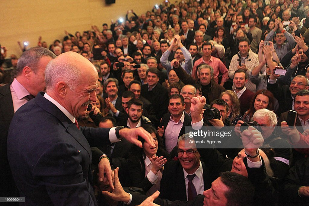 Former Greek Prime Minister <a gi-track='captionPersonalityLinkClicked' href=/galleries/search?phrase=George+Papandreou&family=editorial&specificpeople=212855 ng-click='$event.stopPropagation()'>George Papandreou</a> announces that he sets up a new political party Democrat Socialists Movement (Kinima Dimokraton Sosialiston) ahead of Greece early elections, in Athens, Greece, on January 3, 2015.