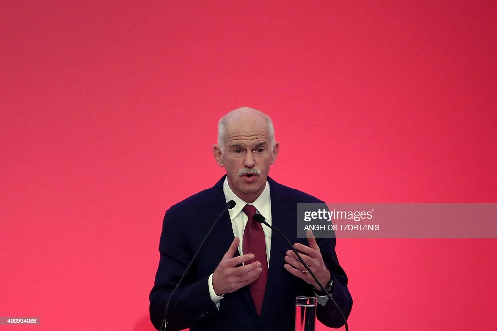Former Greek Prime minister <a gi-track='captionPersonalityLinkClicked' href=/galleries/search?phrase=George+Papandreou&family=editorial&specificpeople=212855 ng-click='$event.stopPropagation()'>George Papandreou</a> delivers a speech in Athens, on January 3, 2015, prior to announce the launch of a new political party just weeks before snap elections this month, sparking anger in his own Socialist party. AFP PHOTO / Angelos Tzortzinis