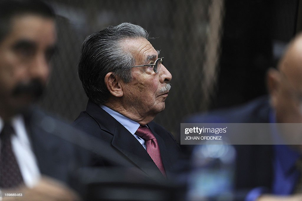 Former Guatemalan de facto President (1982-1983) and retired General, Jose Efrain Rios Montt, is seen during a court hearing in Guatemala City on January 22, 2013. Rios Montt and retired General Jose Rodriguez attended the hearing, where the prosecution requested they be tried for genocide in indigenous communities in northern Guatemala during the civil war (1960-1996). AFP PHOTO/Johan ORDONEZ