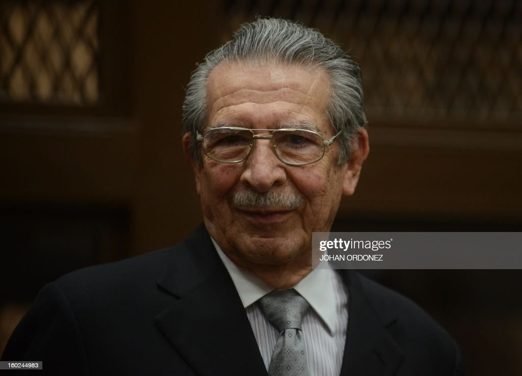 Former Guatemalan de facto President (1982-1983) and retired General Jose Efrain Rios Montt, gestures during a court hearing in Guatemala City on January 28, 2013. In a historic decision, a Guatemalan court announced today that Rios Montt, 86, will face trial for the genocide of indigenous peoples during his rule, becoming the first former president to be prosecuted for this crime in the country. The landmark decision marks the first time that genocide proceedings have been brought in the country over the 36-year civil war that ended in 1996, leaving an estimated 200,000 people dead, according to the UN. AFP PHOTO/Johan ORDONEZ