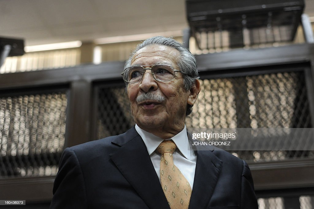 Former Guatemalan de facto President (1982-1983) and retired General Jose Efrain Rios Montt sits during a court hearing in Guatemala City on January 31, 2013. A Guatemalan judge started the hearing to receive evidence for the open trial to Rios Montt on charges of genocide committed in indigenous populations during his de facto regime between 1982 and 1983. AFP PHOTO/Johan ORDONEZ