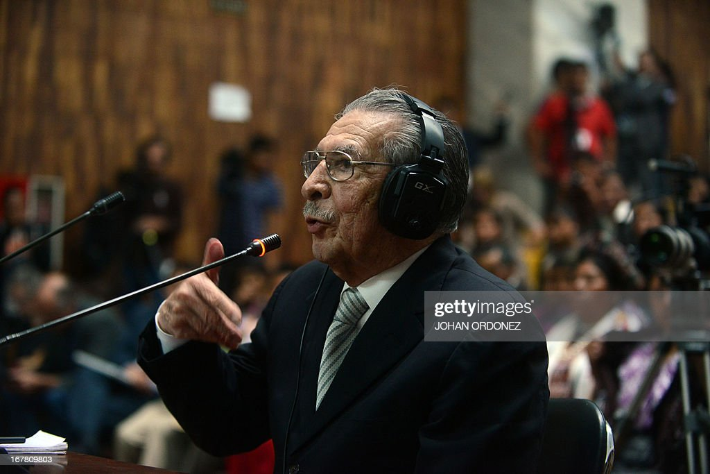 Former Guatemalan de facto President (1982-1983), retired General Jose Efrain Rios Montt, 86, speaks during the trial acainst him on charges of genocide committed during his de facto regime, in Guatemala City on April 30, 2013. The genocide trial arises from the country's 36-year civil war, which pitted leftist guerrillas against government forces until 1996, leaving an estimated 200,000 dead or 'disappeared,' according to the United Nations. Rios Montt, 86, is accused of ordering the execution of 1,771 members of the Ixil Maya people in the Quiche region during his 1982-1983 regime. AFP PHOTO/Johan ORDONEZ