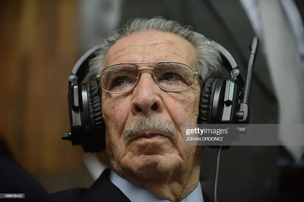 Former Guatemalan de facto President (1982-1983), retired General Jose Efrain Rios Montt, 86, is seen after listening his sentence on charges of genocide committed during his regime, in Guatemala City, on May 10, 2013. Rios Montt was found guilty of genocide and war crimes on Friday in a landmark ruling stemming from massacres of indigenous people in his country's long civil war. Rios Montt thus became the first Latin American convicted of trying to exterminate an entire group of people in a brief but particularly gruesome stretch of a war that started in 1960, lasted 36 years and left around 200,000 people dead or missing. AFP PHOTO / Johan ORDONEZ
