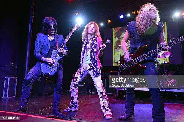 Former Guns N' Roses guitarist Gilby Clarke and singer Keith St John and bass player Brad Lang perform onstage at The Observatory on January 23 2016...