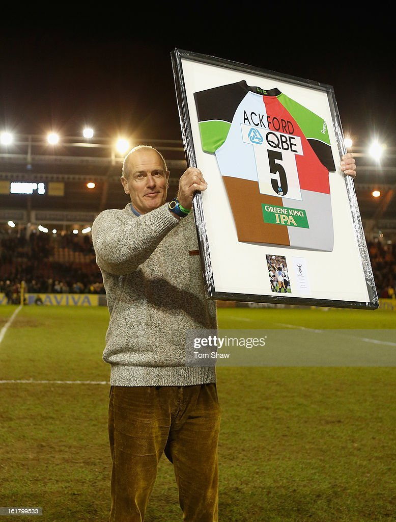 Former Harlequin Paul Ackford is presented with a shirt during the Aviva Premiership match between Harlequins and Leicester Tigers at Twickenham Stoop on February 16, 2013 in London, England.