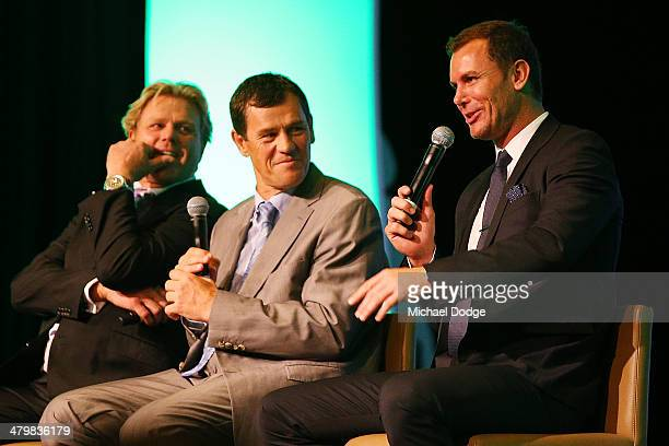 Former Hawks player Dermott Brereton former Dockers coach Mark Harvey and former Kangaroos player Wayne Carey speak during the Riddell Football...