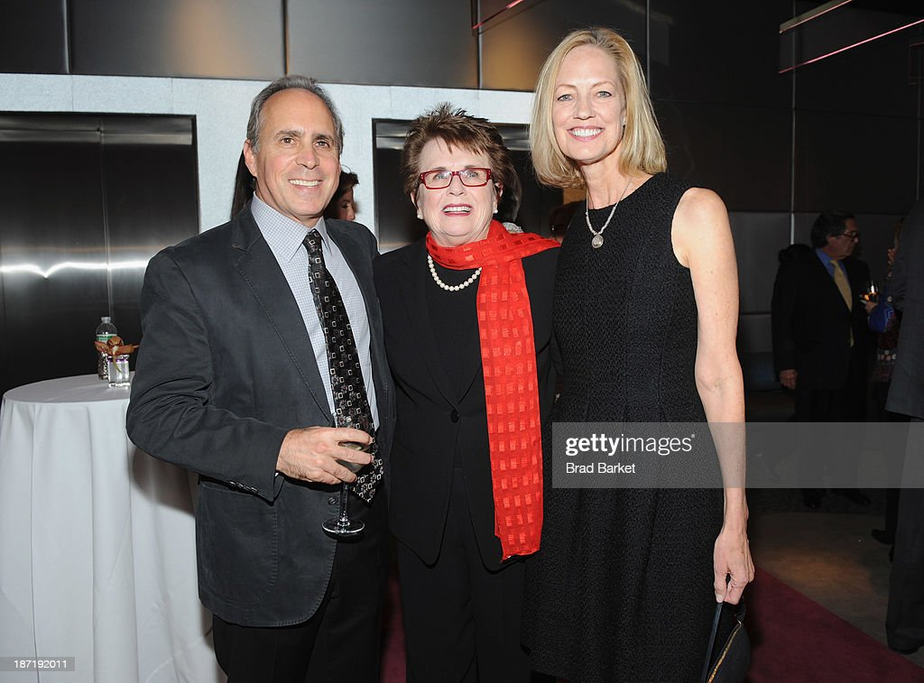 Former HBO Sports President <a gi-track='captionPersonalityLinkClicked' href=/galleries/search?phrase=Ross+Greenburg&family=editorial&specificpeople=678468 ng-click='$event.stopPropagation()'>Ross Greenburg</a>, Tennis legend <a gi-track='captionPersonalityLinkClicked' href=/galleries/search?phrase=Billie+Jean+King&family=editorial&specificpeople=93147 ng-click='$event.stopPropagation()'>Billie Jean King</a> and Chief Executive Officer of the Women's Sports Foundation Kathryn Olson attend the Women's Sports Foundation's 70th Birthday Party For <a gi-track='captionPersonalityLinkClicked' href=/galleries/search?phrase=Billie+Jean+King&family=editorial&specificpeople=93147 ng-click='$event.stopPropagation()'>Billie Jean King</a> at the Museum of Art and Design on November 6, 2013 in New York City.