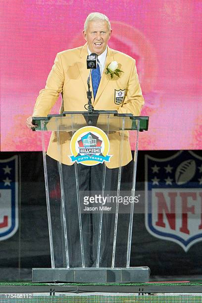 Former head coach Bill Parcells gives his speach during the NFL Class of 2013 Enshrinement Ceremony at Fawcett Stadium on Aug 3 2013 in Canton Ohio