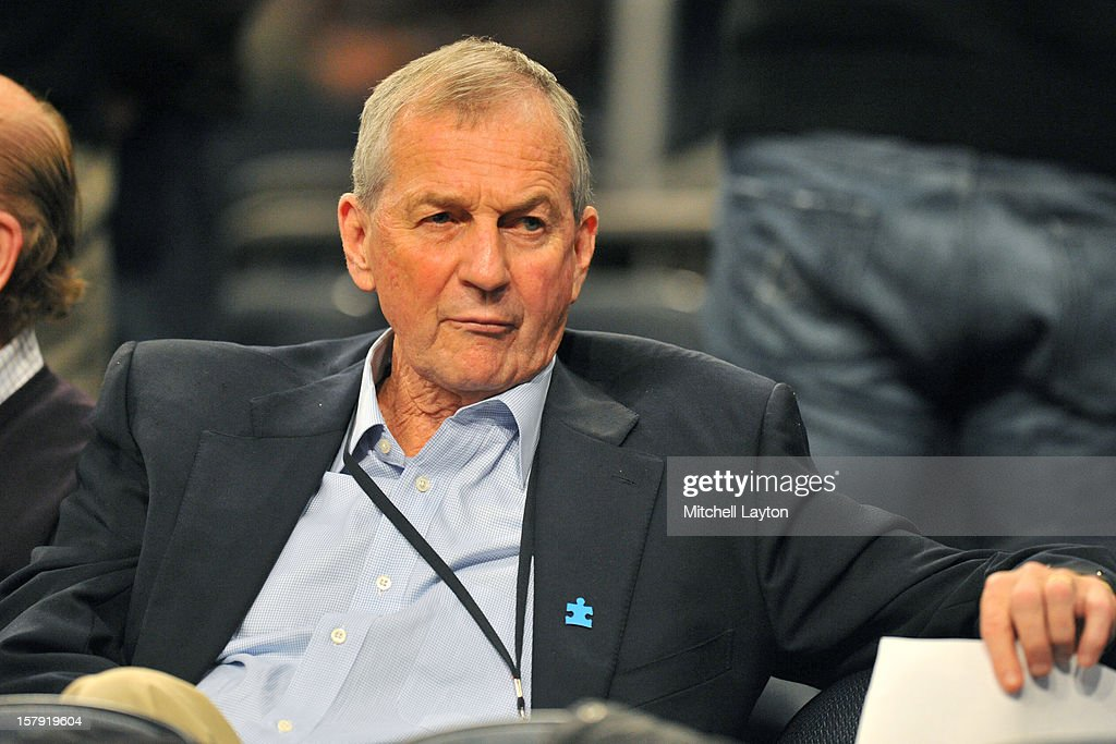 Former head coach Jim Calhoun of the Connecticut Huskies looks on during the Jimmy V Classic college basketball game against the North Carolina State Wolfpack on December 4, 2012 at Madison Square Garden in New York, New York. The Wolfpack won 69-65.