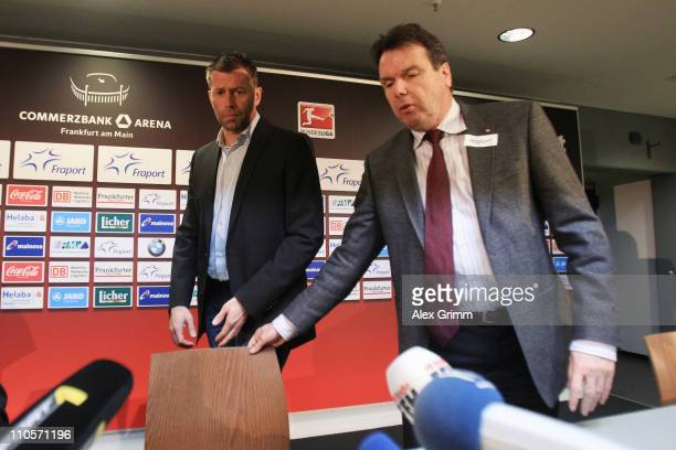 Former head coach Michael Skibbe and CEO Heribert Bruchhagen arrive for a press conference of Eintracht Frankfurt at the Commerzbank Arena on March...
