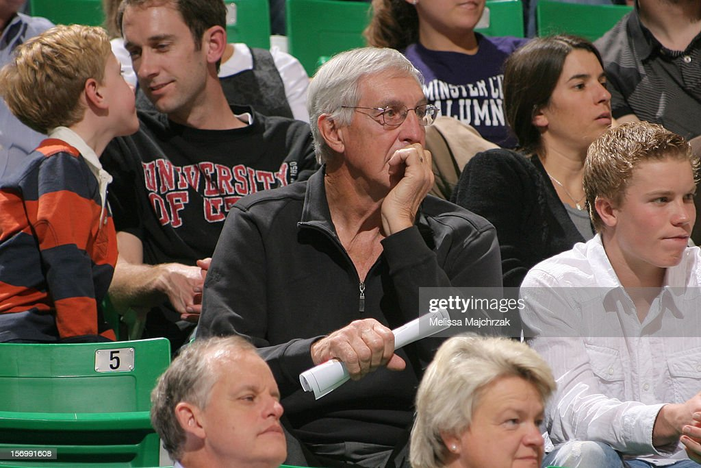 Former Head Coach of the Utah Jazz <a gi-track='captionPersonalityLinkClicked' href=/galleries/search?phrase=Jerry+Sloan&family=editorial&specificpeople=213338 ng-click='$event.stopPropagation()'>Jerry Sloan</a> watches his team play the Denver Nuggets at Energy Solutions Arena on November 26, 2012 in Salt Lake City, Utah.