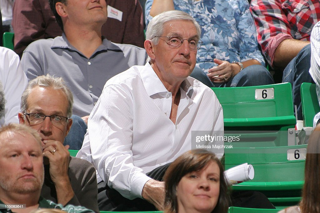 Former Head Coach of the Utah Jazz Jerry Sloan watches the Utah Jazz play the Dallas Mavericks at Energy Solutions Arena on October 31, 2012 in Salt Lake City, Utah.