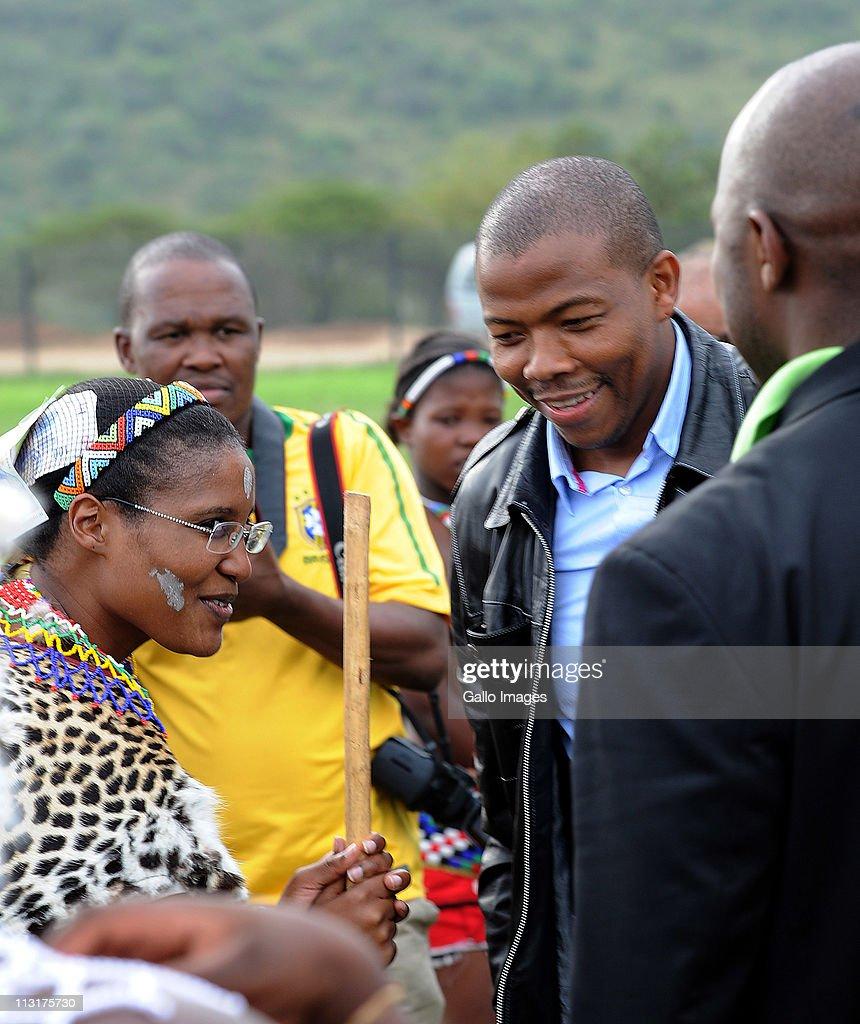 Former head of Lembede Investment Holdings Lonwabo Sambudla and his bridetobe President Jacob Zuma's daughter Duduzile Zuma attend her uMemulo...