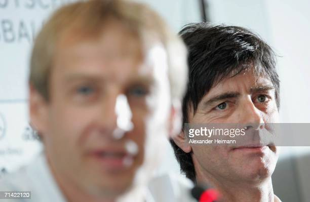 Former Headcoach of the German National Team Juergen Klinsmann and his successor Joachim Loew attend the German Football Federation press conference...