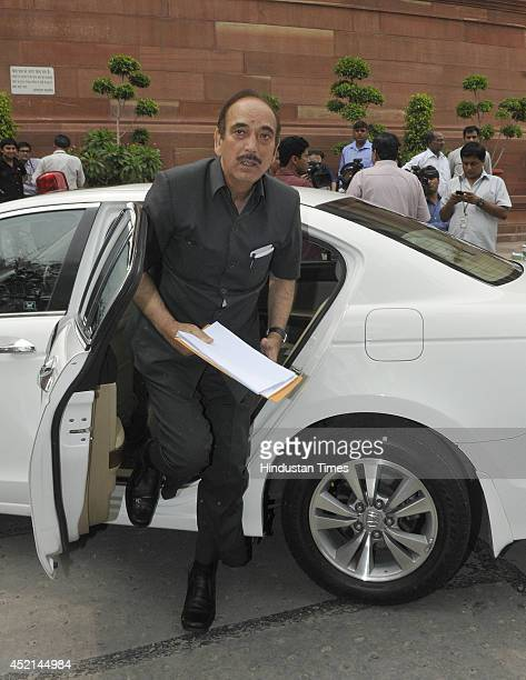 Former health minister Ghulam Nabi Azad arrives at Parliament to attend the budget session on July 14 2014 in New Delhi India A bill to remove legal...
