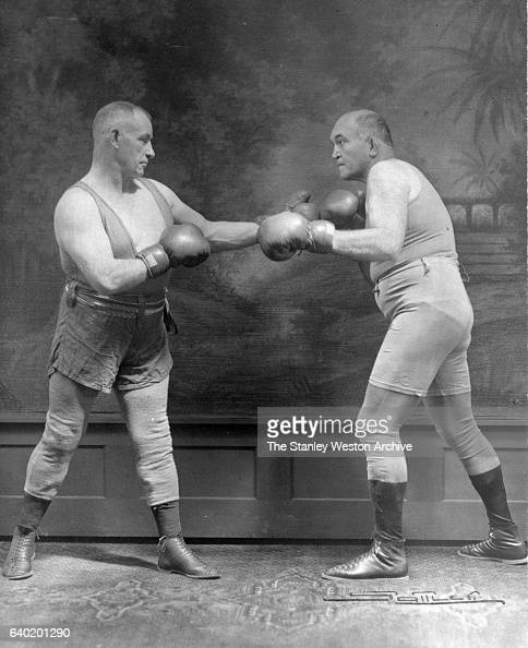 Former Heaveyweight Champion James J Jeffries and Tom Sharkey appearing on the Vaudeville Circuits New York New York 1928