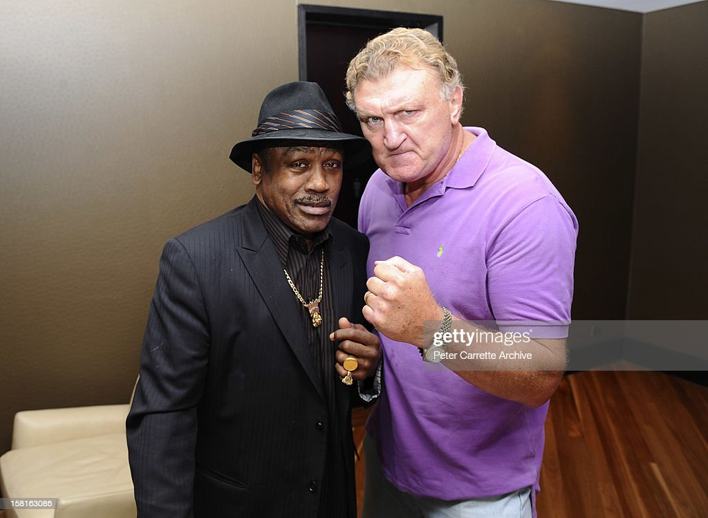 Former heavyweight boxers <a gi-track='captionPersonalityLinkClicked' href=/galleries/search?phrase=Joe+Frazier+-+Boxer&family=editorial&specificpeople=214108 ng-click='$event.stopPropagation()'>Joe Frazier</a> and <a gi-track='captionPersonalityLinkClicked' href=/galleries/search?phrase=Joe+Bugner&family=editorial&specificpeople=239003 ng-click='$event.stopPropagation()'>Joe Bugner</a> ahead of a tribute and testimonial dinner to celebrate Bugner's 60th birthday on March 11, 2010 in Sydney, Australia.