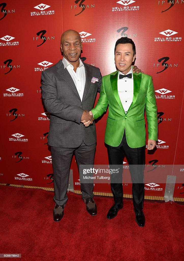 Former heavyweight boxing champion Mike Tyson and actor Donnie Yen attend the premiere of Well Go USA's 'Ip Man 3' at Pacific Theatres at The Grove...