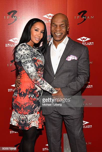 Former heavyweight boxing champion Mike Tyson and wife Lakiha Spicer attend the premiere of Well Go USA's 'Ip Man 3' at Pacific Theatres at The Grove...
