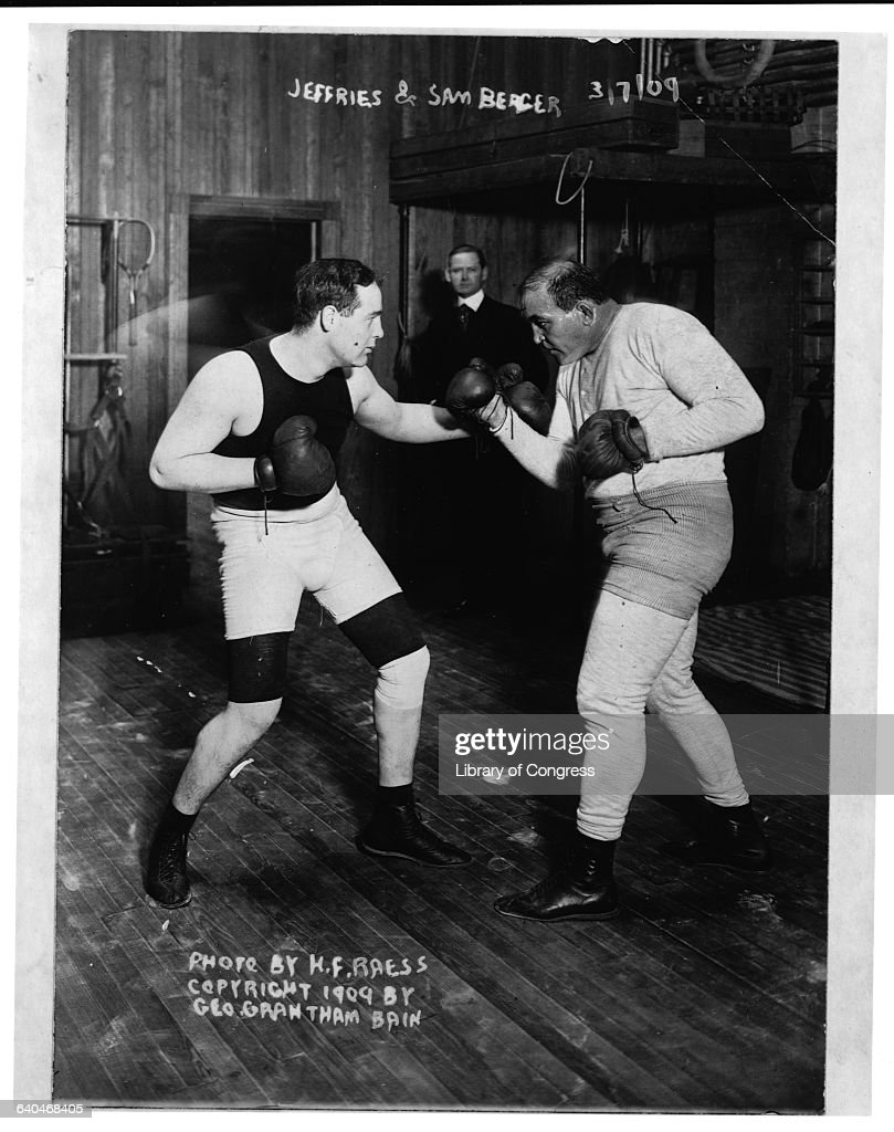 Former Heavyweight champion James J Jeffries spars with his trainer Sam Berger who won an Olympic medal for boxing in 1904