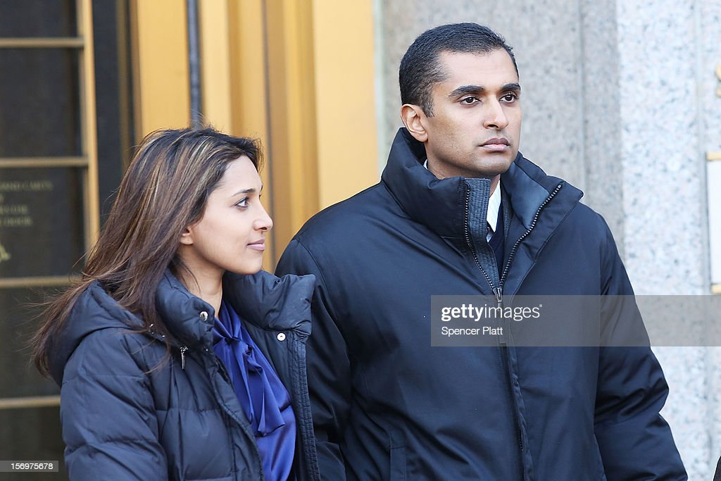 Former hedge fund portfolio manager Mathew Martoma exits a New York federal court with his girlfriend after being charged in one of the biggest insider trading cases in history on November 26, 2012 in New York City. Martoma, who was arrested at his home in Boca Raton, Florida, worked for CR Intrinsic Investors LLC between 2006 and 2008. He was released on $5 million bail after being charged with using insider information to make more than $276 million for his fund and others.