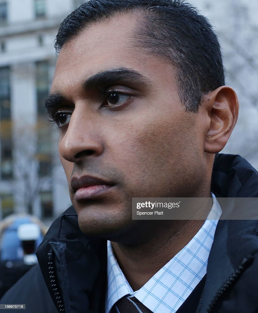 Former hedge fund portfolio manager Mathew Martoma exits a New York federal court after being charged in one of the biggest insider trading cases in history on November 26, 2012 in New York City. Martoma, who was arrested at his home in Boca Raton, Florida, worked for CR Intrinsic Investors LLC between 2006 and 2008. He was released on $5 million bail after being charged with using insider information to make more than $276 million for his fund and others.