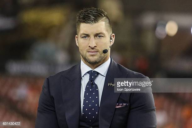 Former Heisman Trophy winner and television analyst Tim Tebow during the College Football Playoff National Championship game between the Alabama...