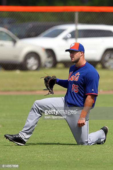 Former Heisman Trophy winning quarterback Tim Tebow works out during the Florida Instructional League workout at the Tradition Field Minor League...