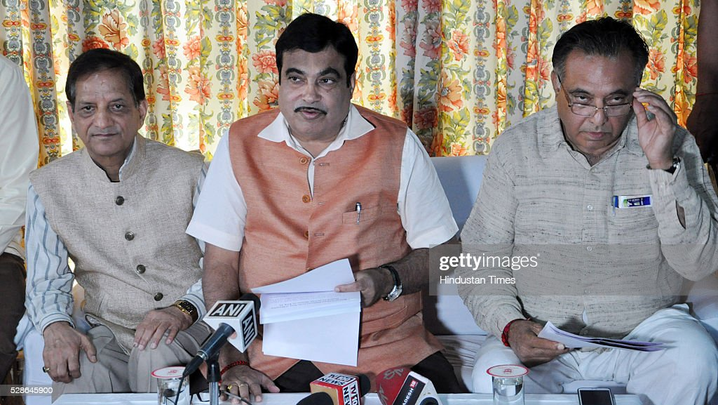 Former Himachal Pradesh Transport Minister Kishan Kapoor, Union Road Transport and Highways Minister Nitin Gadkari and Himachal Pradesh Transport Minister GS Balli interact with media at on May 6, 2016 in Dharamsala, India. Gadkari announced that 18 roads in Himachal Pradesh to be made National Highways.