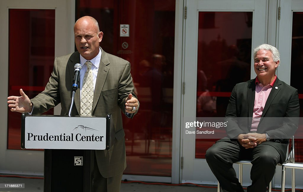 Former hockey player and three-time Stanley Cup Champion Ken Daneyko (L) and Chairman and Managing partner of the New Jersey Devils Jeff Vanderbeek (R) attend the New Jersey Legacy Tree Project Press Conference at Prudential Center on June 29, 2013 in Newark, New Jersey. As part of the NHL's commitment to support the local environment of host cities for NHL events through its NHL Green initiative, the NHL Foundation has donated 30 trees to the Devils Care Foundation.