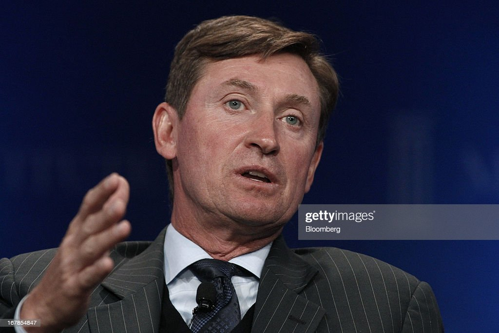 Former hockey player Wayne Gretzky speaks at the annual Milken Institute Global Conference in Beverly Hills, California, U.S., on Monday, May 1, 2013. The conference brings together hundreds of chief executive officers, senior government officials and leading figures in the global capital markets for discussions on social, political and economic challenges. Photographer: Jonathan Alcorn/Bloomberg via Getty Images