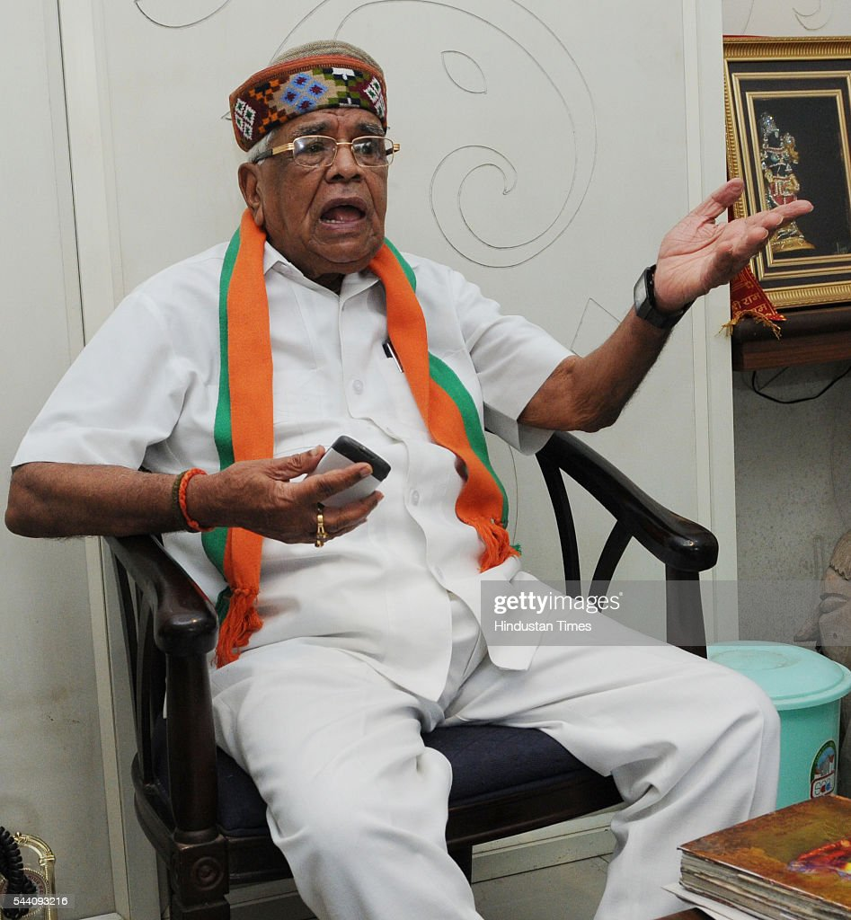 Former home minister Babulal Gaur on July 1, 2016 in Bhopal, India. 86-year-old Babulal Gaur, who was serving as Home Minister was dropped from Shivraj Singh Chouhan government owing to age bar of 75 years setup by PM Modi. Babulal Gaur is said to be not happy with this decision.