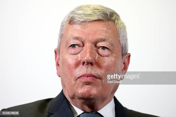 Former Home Secretary Alan Johnson attends a press conference to add support to Britain staying in the European Union on April 12 2016 in London...